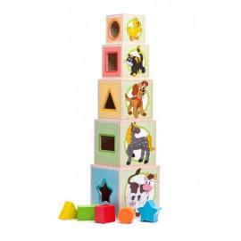 Piramida din cuburi de lemn pentru bebelusi