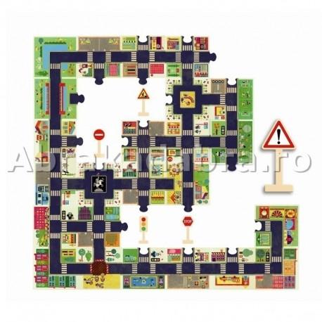 Puzzle de podea gigant cu strazi si semne de circulatie