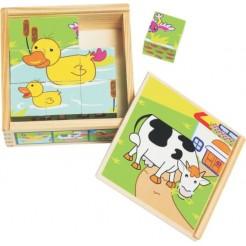 Cuburi puzzle cu animale ferma