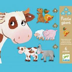 Puzzle cu piese mari 9, 12, 15 piese (animale domestice)