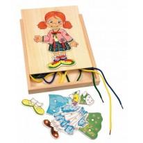 Jucarie fetita din lemn