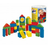 Cuburi de lemn pentru copii mici in galetusa cu sortator