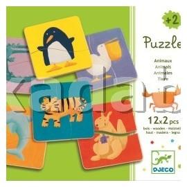 Puzzle lemn copii 2 ani cu animale
