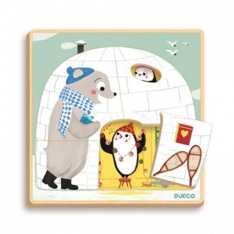 Puzzle straturi cu pinguini Iglu
