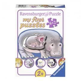 Puzzle cu animale salbatice parinti si pui