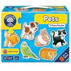 Puzzle 2 piese animale de casa pentru 1 an si jumatate