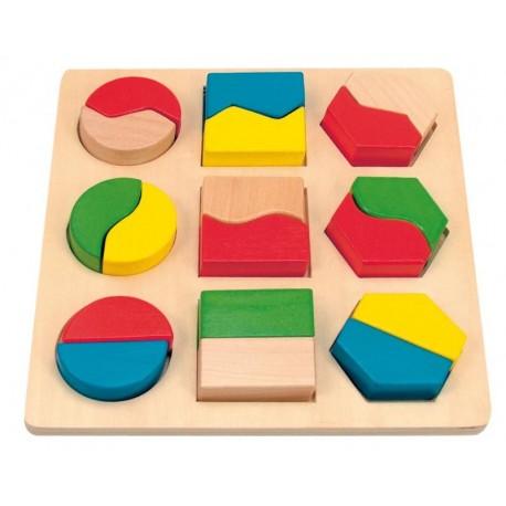 Puzzle cu forme geometrice din lemn
