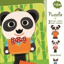 Puzzle in straturi Djeco familia de panda