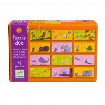 Joc de asociere puzzle cu animale si pui
