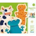 Joc cu magneti puzzle cu 3 piese animale