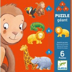 Puzzle cu piese mari 4, 6, 9 piese (animale salbatice)
