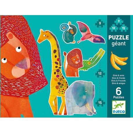 Puzzle cu piese mari 9, 12, 15 piese (animale salbatice)