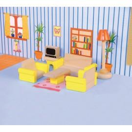 Jucarii lemn pentru papusi mobilier camera de zi