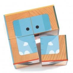 Cuburi din lemn animalute dragute Djeco