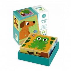Cuburi din lemn animalute simpatice Djeco