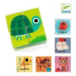 Cuburi din lemn cu animale Djeco