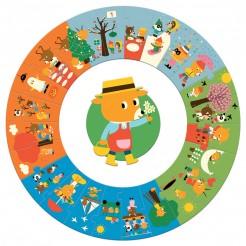 Puzzle cu anotimpuri circular Djeco