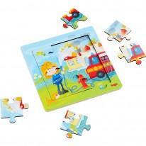 Puzzle cu pompieri 9 piese de lemn