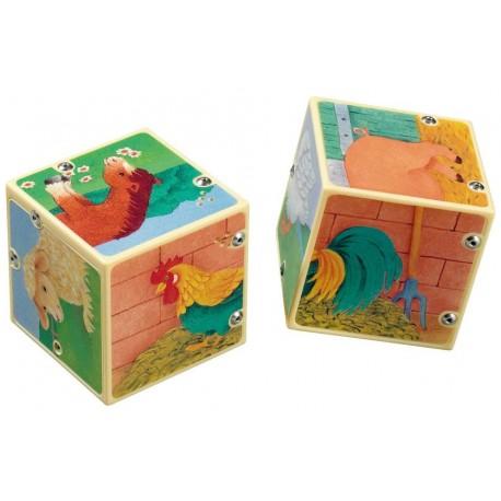 Cuburi puzzle cu sunete Animale