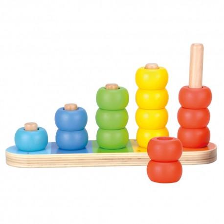 Suport cu inele de lemn colorate