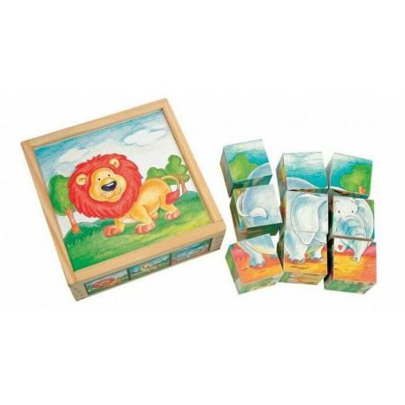Cuburi puzzle de lemn cu animale salbatice