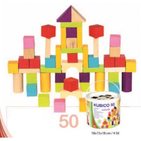 Găletușă cuburi de lemn copii 50 piese
