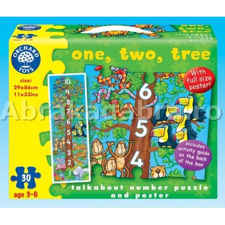 Puzzle copacul cu numere Unu, doi, trei