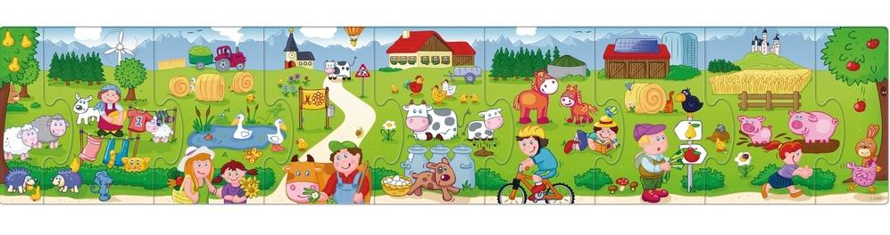 puzzle de podea cu piese mari animale ferma