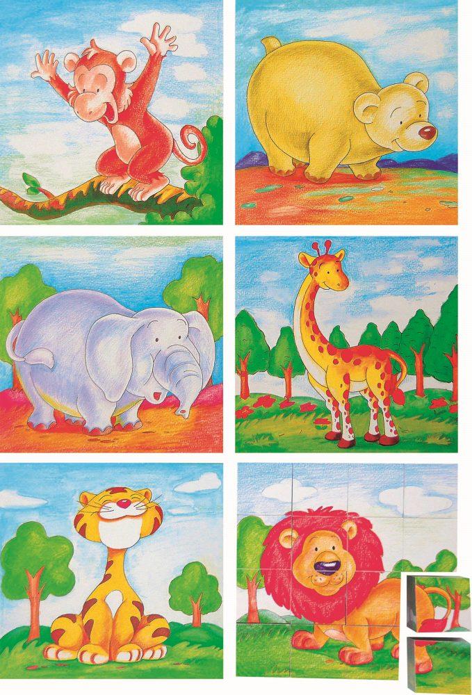 cuburi lemn cu animale