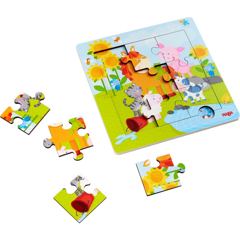 puzzle lemn cu animale si imagine dedesubt